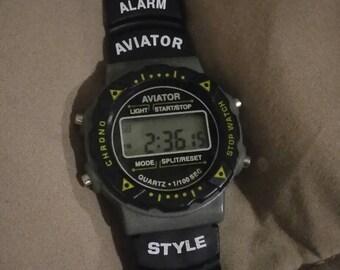 Aviator Style Digital Chronograph watch. Date, Alarm, Stop Watch. Unisex. Black/dark gray. Rubber strap