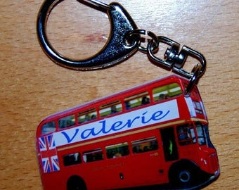 Double Decker London bus Keychain personalize name or text
