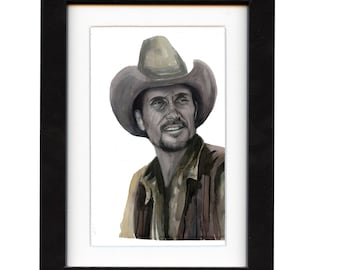 art, robert duvall, art print, print, ranch, old, cowboy art, cowboy, gift, hat, western, decor, wall art, portrait, famous, saltwatercolors
