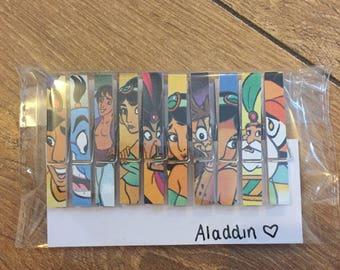 Disney Aladdin Wooden Peg Magnets Place Card Holders Wedding Set of 10 Memos Notes