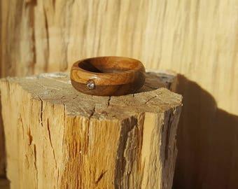 Wooden ring, wooden ring diamond, diamond ring, band, wooden band, oak ring, walnut ring, engagement ring