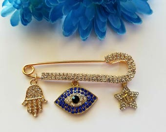 Blue eye evil eye Stroller pin with Hamsa hand and crown charm Crib Pin Stroller Pin Bassinet Pin Good luck pin Baby Pin