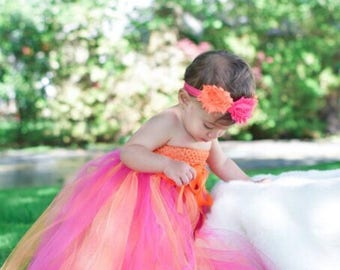 pink flower girl dress baby, baby girl tutu dress photo prop, baby girl fashion clothes, long tulle dress