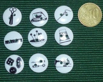 Set of nine buttons on the sewing theme