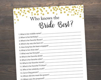 Gold Bridal Shower Games, Who Knows the Bride Best, How well do you know the Bride, Bridal Shower Printable, Bachelorette, Hens Night, J001
