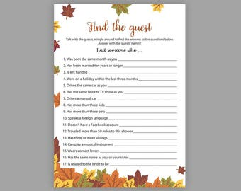 Fall Bridal Shower Games, Find the Guest, Games Printable, Bachelorette Games, Autumn Bridal Shower, Printable Shower Games, J016