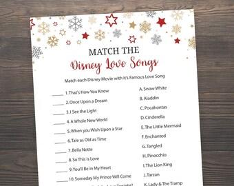 Winter Wedding, Bridal Shower Games, Match the Disney Love Songs, Red Printable Bridal Shower, Disney Songs Match Game, J021