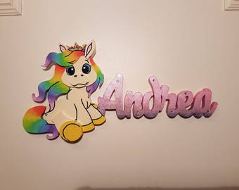 Door Plate Wooden Rainbow Personalized and Engraved