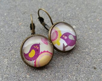 Earrings sleepers bronze and glass cabochons