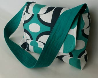 Blue Green Upclycled Skirt Purse, Geometric Purse, Flap Purse, Flap Hand Bag, Bold Pattern Purse, Upclyled, Reused, Recycled, Medium Purse