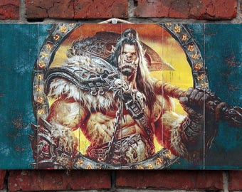 Orc Grommash Hellscream. World of Warcraft. WOW. Transfer on wood. Picture on wood. Wooden panel. Gift for Men. Birthday Gift. Gamer Gift.