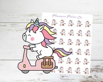 Unicorn Planner Stickers // MoPed // Transportation