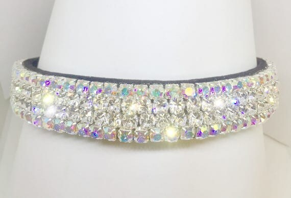 "Wide 1"" Black Velvet ~Fiery Glow Diamonds & Aurora~ Crystal Rhinestone Dog Pet Collar + Free Paw Charm USA"
