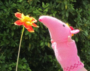 Clanger hand knitted glove puppet