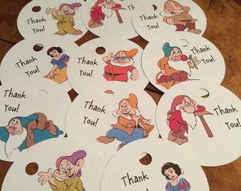 12 Disney Inspired Snow White Party Thank You Tags (can be personalized)