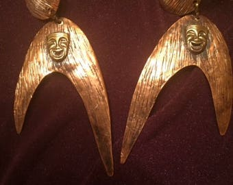 Large Pericles Hammered Copper Earrings with Brass Theater Masks