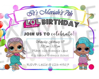 LOL Birthday Invitation