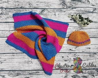 Crochet baby blanket and coordinating hat