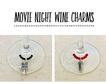Movie Night Wine Charms