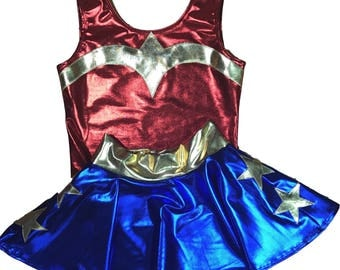Children's Metallic Wonder Woman Costume - Mini Skater Skirt and Metallic Red Bodysuit outift