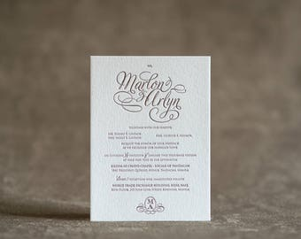 Letterpress Wedding Invitation Printing Formal Monogram thick paper 1 color