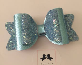 Metallic glitter blue hair bow - Medium