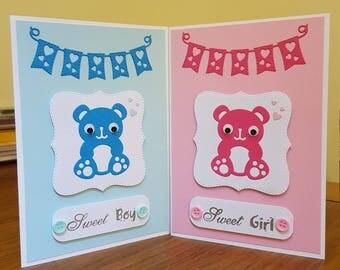 Handmade Card New Baby Girl Baby Boy Teddy Bear