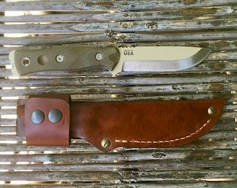 TOPS Fieldcraft by Brothers of Bushcraft handmade leather sheath.
