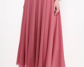 Dusty rose chiffon long skirt.Bridesmaids Maxi skirt prom-More colors