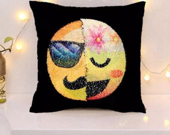 Emoji reversible mermaid sequin pillow mustache guy/lady flower face with feeling