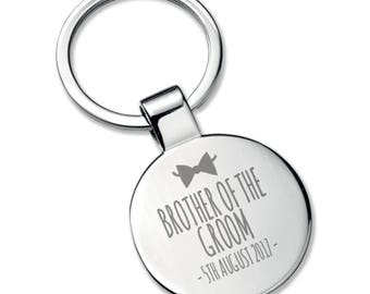Engraved BROTHER of the GROOM KEYRING wedding thank you gift, chromed round metal keyring bow tie - 5565RBW4