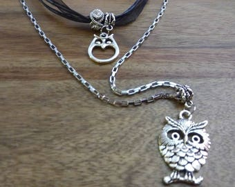 owls, orgenza d black cord and stainless steel chain necklace