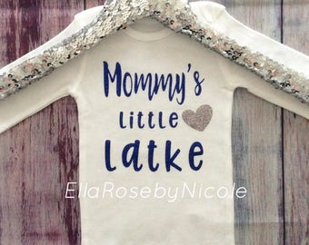 Jewish Baby Hanukkah Baby Outfit Mommy's Little Latke Glitter Jewish Baby Gift Chanukkah Baby Outfit