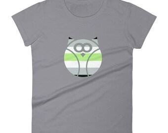 Agender Pride Owl Women's short sleeve t-shirt lgbtq lgbt lgbtqipa queer gay transgender mogai