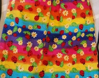Handmade drawstring backpack,  ladybug, tye dyed