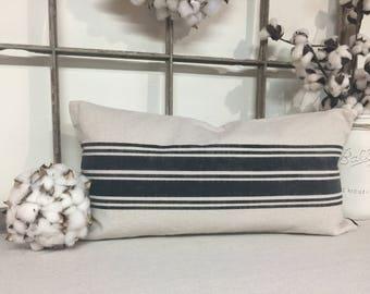 Farmhouse Pillow Cover, Grain Sack Pillow, Canvas Pillow Covers, Fixer Upper Style Pillow, Black Ticking Pattern,