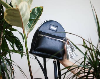 Black leather backpack purse Women backpack satchel Leather convertible backpack Mini leather backpack hipster Small backpack purse rucksack