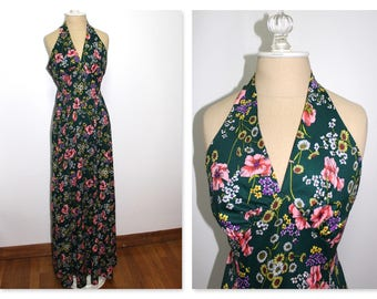 1960s Green floral halter maxi dress