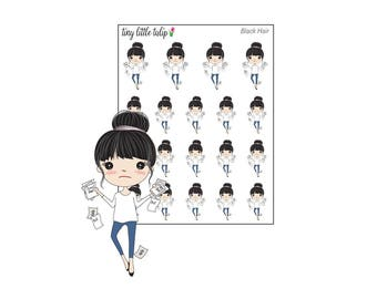 Planner Stickers Doodle Girl Pay Bills Stickers