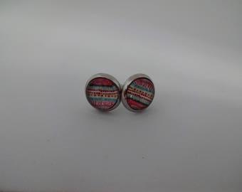 Earrings glass studs - stainless steel Earrings - 8 mm