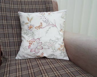 Pink floral cushion, 60s style pillow, pink purple flower, cream home decor, floral accessories, Vintage cushion, shabby chic decor,mum gift