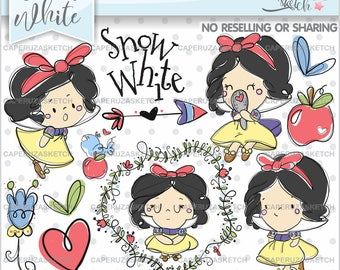Snow White Clipart, Princess Clipart, Princess Graphics, Handrawn Girl, COMMERCIAL USE, Handrawn Clipart, Hand Drawn, Sketch, Clip Art