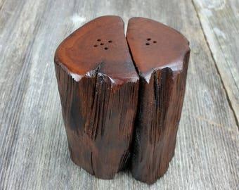 Redwood Rustic or Root Salt and Pepper Shakers Set Handmade #H