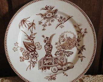 Antique Ironstone Plate | Brown Transferware