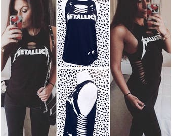 Metallica Tank Top - Shirt Distressed Shredded Shirt, Tee, Band Shirt, Repurposed (Multiple Sizes)