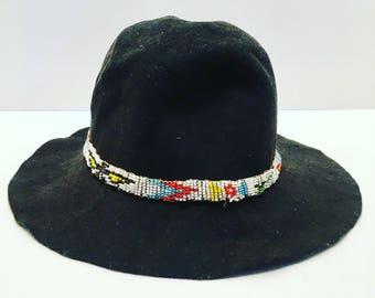 Vintage Black bucket hat with Native American bead headband design. Felt, Measures 23.5 inches inside. Festival, Summer, Americana, concert.