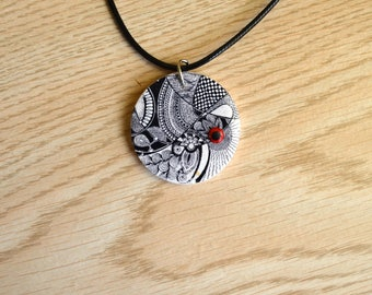 Hand made polymer clay pendant - zentagle