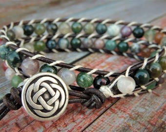 Earth Tone Wrap Bracelet, Jasper Bracelet, Natural Bracelet, Green Bracelet, Beaded Bracelet, Boho Bracelet, Leather Wrap Bracelet