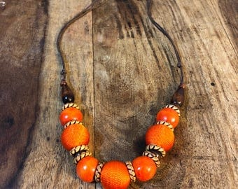 Wooden Beaded Necklace, Orange Necklace, Chunky Necklace