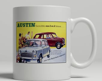 Austin mini vintage car advertising poster printed on a new ceramic mug. Loving all things art deco and retro. UK Mug Shop. Mini 1